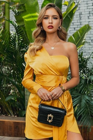 Gold Satin Pleated Dress