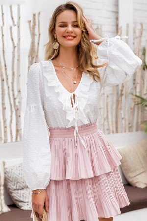 Lantern Sleeves Ruffle Blouse