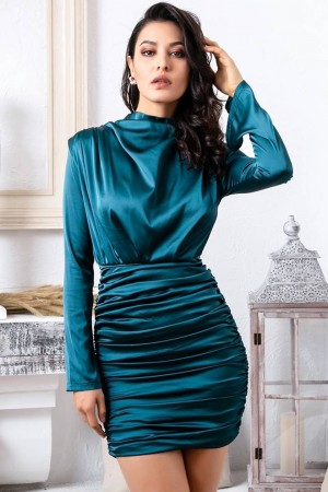 Darina Ruched Satin Dress