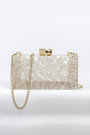 White Luxe Marble Clutch
