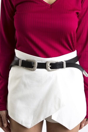 Silver Double Buckle Belt