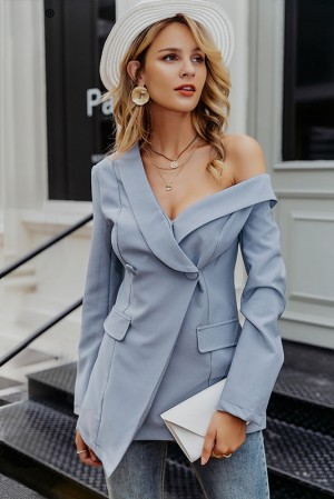 One Shoulder Teal Blazer