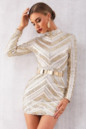 Natalie Striped Sequin Dress