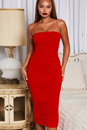 Anna Wisteria Rouge Ruched Dress