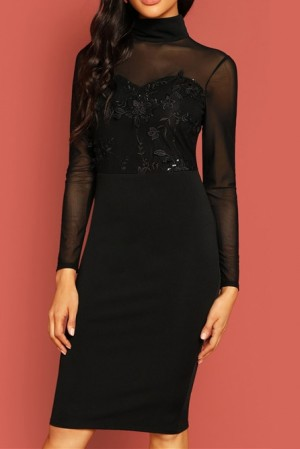 Alessia Noir Embroidered Sequin Dress