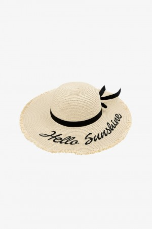 Handmade Hello Sunshine Embroidered Beige Sunhat