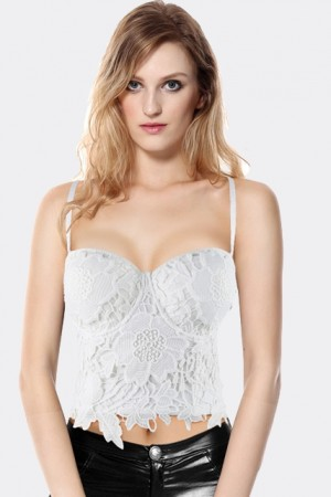 White Lace Crochet Bustier