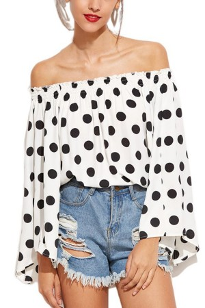 Polka Dots Off Shoulder Top