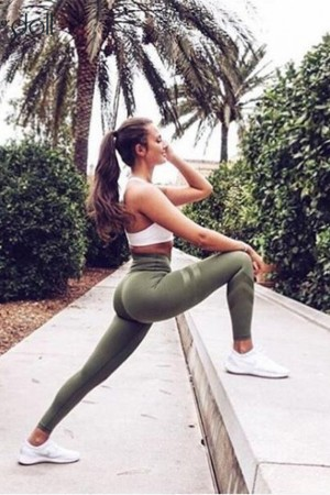 Army Green High Waist Leggings