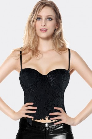 Black Lace Crochet Bustier