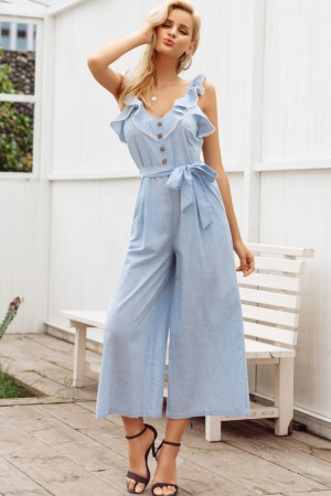 Sailor Aqua Ruffle Jumpsuit
