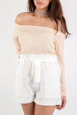 Beige Off Shoulder Top