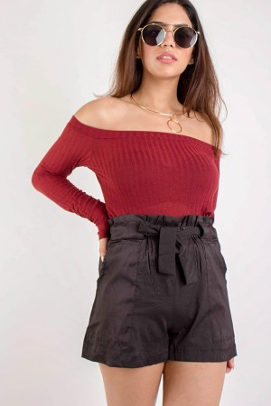 Burgundy Off Shoulder Top