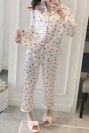 Amour Heart Satin Pajama Set