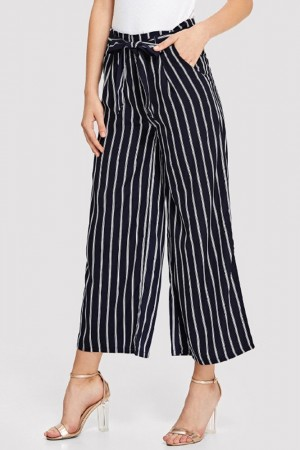 Doris Noir Striped Pants