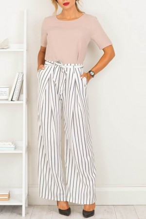 Doris White Striped Pants