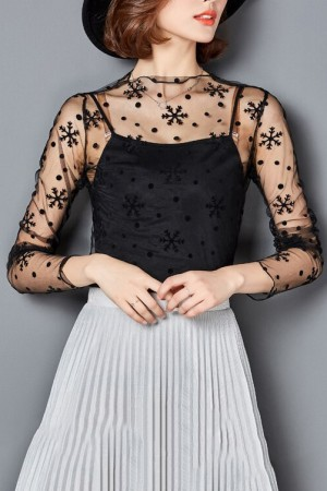 Snow Flakes Mesh Top