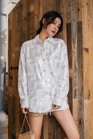 Starlet Plaid Sequin Shirt