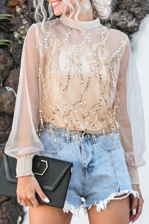Ava Tassle Sequin Top
