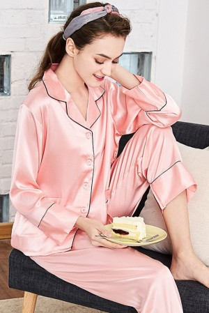 Pink Satin Pajama Set