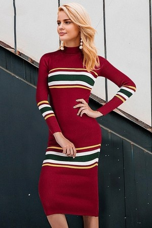 Eugenie Striped Knitted Dress
