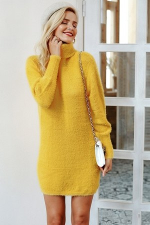 Sunshine Turtleneck Sweater Dress