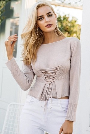 Evelyn Lace up Pullover