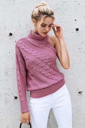 One Shoulder Knitted Pullover
