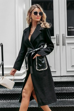 Noémie Noir Pearl Leather Coat