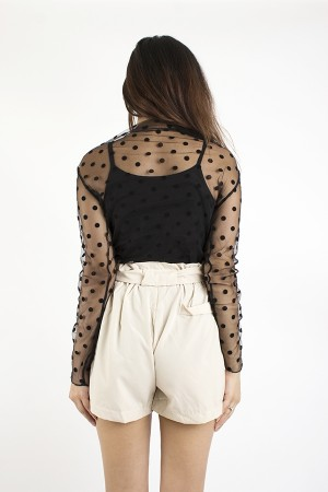 Polka Dots Mesh Top