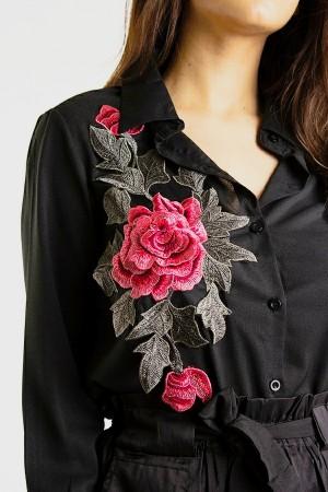 Noir Floral Embroidered Shirt