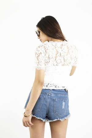 Rose Embroidered Crochet Top