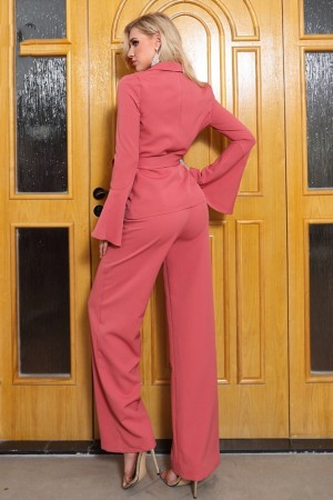 Coral Red Luxe Pant Suit