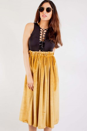 Luxe Gold Velvet Skirt