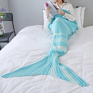 Aqua Knitted Mermaid Blanket