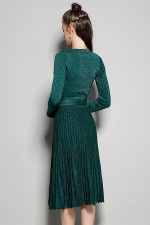 Donatella Shimmer Pleated Dress