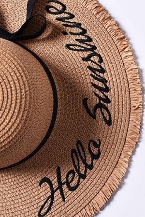 Handmade Hello Sunshine Embroidered Tan Sunhat