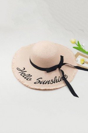 Handmade Hello Sunshine Embroidered Pink Sunhat
