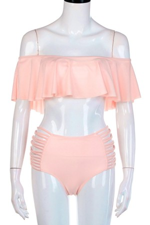 Coral Ruffle Bikini Set