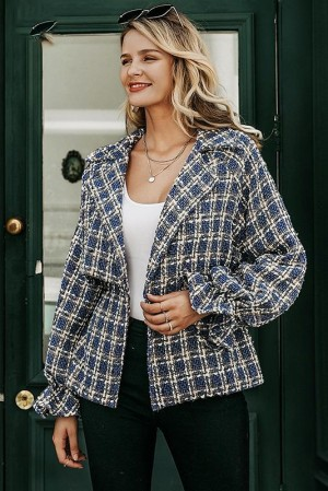 Milan Plaid Tweed Coat