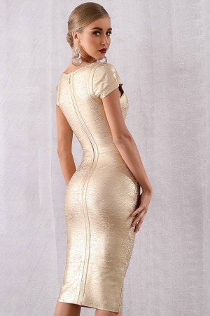 Golden Girl Bandage Dress