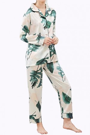 Tropical Satin Pajama Set