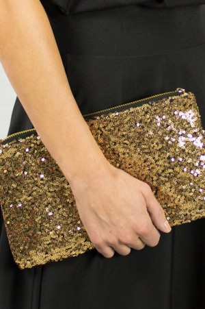 Golden Sequin Clutch