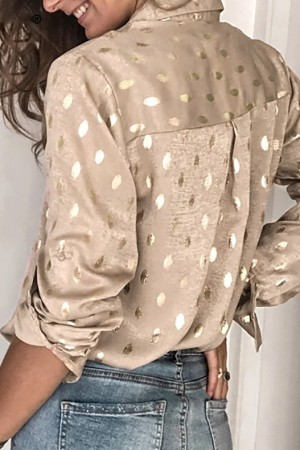 Beige Gold Dots Print Shirt