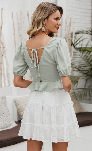 Lace up Ruffle Crop Top