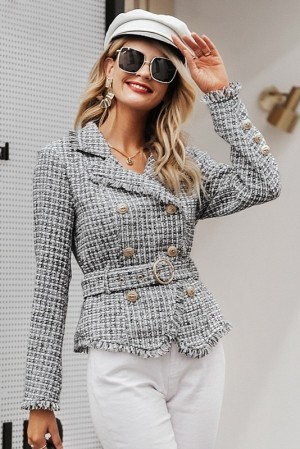 Marilyn Plaid Tweed Coat